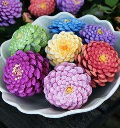Zinnia flowers from pinecones  / Tavaszi rézvirágok tobozból /  Mindy -  creative craft ideas for everyday