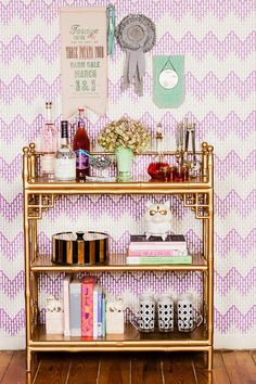 gold bar cart + eclectic styling