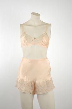 ebca758d904cf7 1920s Silk Lingerie Set   Vintage Lace Tap Pant Bralette