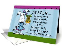 Happy Birthday for Sister-Millie Ann Bone'a Fide Offer card