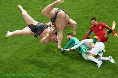 Funny World Sport Memes Russia 2018 Portugal vs Spain 3-3 - Highlights Portugal's Cristiano Ronaldo collides with Spain's goalkeeper David De Gea and a defender