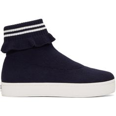 Opening Ceremony Navy Bobby High-Top Slip-On Sneakers (330 CAD) ❤ liked on Polyvore featuring shoes, sneakers, navy, slip on high tops, slip-on sneakers, navy blue sneakers, navy slip on sneakers and high top slip on sneakers