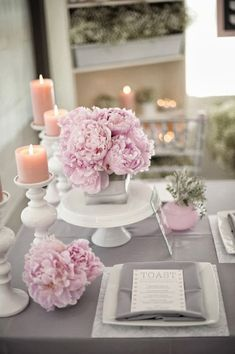 Interesting ideas for table decoration as a wedding decoration table decoration as wedding decoration pink peonies candles delicate tableware. Pink And White Weddings, Gray Weddings, Summer Weddings, Wedding Colors, Wedding Flowers, Floral Wedding, Table Rose, Pink Table, Table Flowers