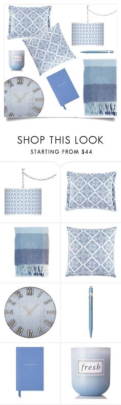 """Cool Blue"" by tina-pieterse ❤ liked on Polyvore featuring interior, interiors, interior design, home, home decor, interior decorating, Giclee Glow, JR by John Robshaw, Home Decorators Collection and Caran D'Ache"