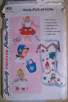 Simplicity Vintage 50s Sewing Pattern #1803 Child's Gift Toy Package Apron Doll