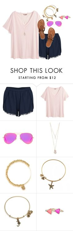"""""""hits of hot pink"""" by prep-lover1 ❤ liked on Polyvore featuring VILA, H&M, Ray-Ban, Valerie Nahmani Designs, Alex and Ani and Kendra Scott"""