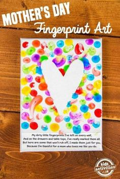 Mom will adore this simple fingerprint Mother's Day art. This homemade kid gift is something she will treasure for years to come. And the best part is that Mother's Day diy mother's day gifts, finger paint, finger paint activities, fingerprint art, Homemade Kids Gifts, Diy Gifts For Mom, Mothers Day Crafts For Kids, Diy Mothers Day Gifts, Fathers Day Crafts, Diy For Kids, Grandparents Day Crafts, Valentine Crafts For Toddlers, Easy Mothers Day Crafts For Toddlers