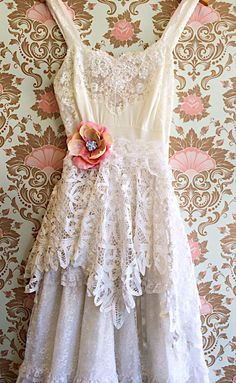 white lace polka dot tulle & battenburg  lace tiered boho princess wedding dress by mermaid miss k