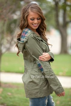 The Pink Lily Boutique - Hike Of A Lifetime Jacket Olive, $48.00 (http://thepinklilyboutique.com/hike-of-a-lifetime-jacket-olive/)