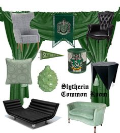Slytherin Common Room by kristajayec Slytherin And Hufflepuff, Slytherin House, Hogwarts Houses, Harry Potter Bedroom, Harry Potter Decor, My New Room, My Room, Dorm Room, Hogwarts Uniform