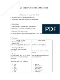 A Detailed Lesson Plan in Kindergarten Science