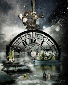 Moving Time Surreal Art Print by ArtByResolution Clock Painting, Clock Art, Clocks, Time Art, Surreal Art, Dark Art, Illusions, Fantasy Art, Art Drawings