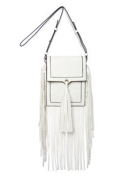 White Long Fringed Cross Body Bag
