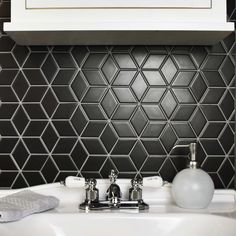 SomerTile Victorian Rhombus Matte Black Porcelain Mosaic Floor and Wall Tile azulejos / pies cuadrados) (SAMPLE-Victorian Rhombus) Black Interior Doors, Interior Walls, Decor Interior Design, Interior Ideas, Interior Decorating, Mosaic Wall, Mosaic Tiles, Wall Tiles, Tiling