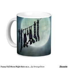 Funny Full Moon Night Bats on a Washing Line Classic White Coffee Mug