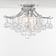 "Contour Design 3-Light 16"" Gold or Chrome Ceiling Flush Mount with European or Swarovski Spectra Crystal Strands $175.00"