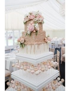 Real wedding: a romantic day at Chippenham Park with a Pronovias wedding dress - Gallery Image 12 - White and rose gold wedding cake with cake pops Big Wedding Cakes, Wedding Cake Roses, Beautiful Wedding Cakes, Wedding Cake Designs, Perfect Wedding, Wedding Favors, Wedding Ceremony, Wedding Themes, Wedding Day