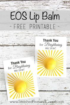 EOS Lip Balm Thank You FREE Printable // Smashed Peas and Carrots