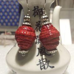 Red Lantern  paper corrugated earrings by CJhandmadeJewelry on Etsy