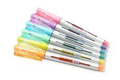 Highlighters in zomerkleuren. Highlighter Pen, Cute Stationary, Bullet Journal Printables, Jet Pens, Coloured Pencils, Planner Organization, Pen And Paper, Drawing, Markers