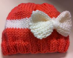 New born hat with a bow tie I made for my cousin's baby.