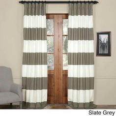 eaadf0722a38 Exclusive Fabrics Cabana Cotton Horizontal Stripe Curtain Panel (Slate Grey    OffWhite- Size 50 x 108