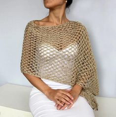 Beige Evening Stole Shawl, Metallic Gold Long Scarf Shimmering Shiny Crochet Bridesmaids Dress Coverup Mother of Bride, Bridal Shoulder Wrap Crochet Scarves, Crochet Shawl, Crochet Clothes, Hand Crochet, Crochet Top, Knit Shrug, Knitted Poncho, Metallic Yarn, Metallic Gold