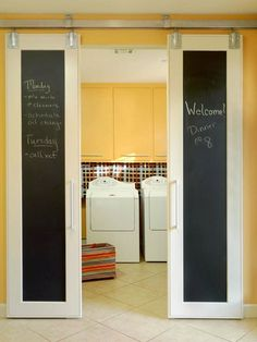 :Love these barn style doors. Close off your laundry room with barn-style doors! These have been topped with magnetic chalkboard paint, too. Laundry Room Doors, Closet Doors, Pantry Doors, Laundry Area, Laundry Closet, Room Closet, Hidden Laundry, Hall Closet, Kitchen Doors