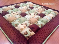 Monkey Themed Baby Bubble Quilt, Bubble Blanket, Puff Quilt, Baby Floor Mat, Tummy Time Mat