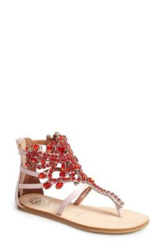 """Jeffrey Campbell 'Prizzy' Sandal available at #Nordstrom  Details & Care A Mardi Gras mix of crystals plays up the color of a sparkling statement sandal.  Approx. shaft height: 4 3/4"""". Measurements taken from size 9 and may vary slightly by size. Back zip closure. Textile upper/leather lining/synthetic sole. By Jeffrey Campbell; imported. Women's Shoes."""