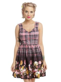 Hell Bunny Floral Columbia Mini Dress, PINK