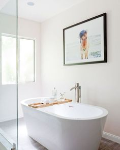 freestanding white bathtub // bathroom renovation