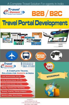 We provides travel portal software with B2B, B2C, Travel Portal Development , online travel portal development,White Label Solutions and XML/API Integration at very affordable price.  visit now http://www.traveleconnect.com