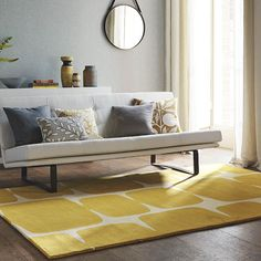 The Scion Lohko Rug features a retro contemporary design. The soft block style lohko pattern adds a retro feel to any interior. Modern Spaces, Modern Rugs, Interior Styling, Interior Decorating, Interior Design, Sala Vintage, Tapis Design, Yellow Rug, Center Table