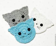 Crochet Cats Applique-Free Pattern - Häkeln - Leads For Amigurumi Chat Crochet, Kawaii Crochet, Crochet Motif, Crochet For Kids, Crochet Cats, Easy Crochet Patterns, Amigurumi Patterns, Cat Face, Crochet Animals