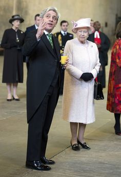 Queen Elizabeth II accompanied by House of Commons Speaker, John Bercow, visits the Palace of Westminster to view the new Diamond Jubilee Window which has been installed in the Great Window of Westminster Hall on 6th December 2013 in London, England.Visits Westminster Hall.