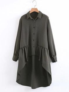 SheIn offers Ruffle High Low Hem Gingham Blouse & more to fit your fashionable needs. Shirt Decorated with Ruffle, Asymmetrical, Ruffle Hem, Button. Perfect choice for Casual wear. Trend of Designed in Army Green. Iranian Women Fashion, Muslim Fashion, Modest Fashion, Hijab Fashion, Fashion Dresses, Kurta Designs, Blouse Designs, Casual Hijab Outfit, Casual Wear