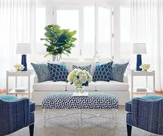"""Today's dream destination: a soothing sunroom in shades of blue and white. (via partner @thibaut_1886)  #indooroutdoorfabric  #Thibaut…"""