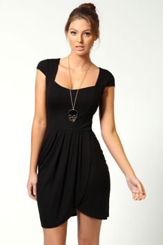 Natasha Cap Sleeve Jersey Dress at boohoo.com