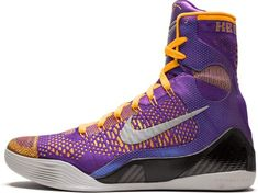 The bold high-top design of the Nike Kobe 9 Elite gets a look appropriate for the Black Mamba's Lakers squad, sporting a purple Flyknit upper with yellow and Laser Orange accents.