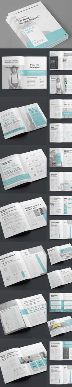 34 Pages Annual Report Template InDesign INDD - A4 Size and US - professional report template