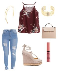 Burgundy and Denim by elizabeth-ann-ix on Polyvore featuring polyvore, fashion, style, Sam Edelman, MANGO, REMINISCENCE, Mrs. President & Co., NYX and clothing