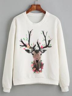 Sr Store White Deer Print Sweatshirt