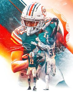 Full-size poster of Miami Dolphins wide receiver DeVante Parker. Football Art, Alabama Football, American Football, Football Helmets, Football Stuff, College Football, Beast Of The East, Dolphin Art, Sports Graphic Design