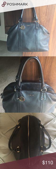 Genuine Black Leather Furla Bag Excellent condition pre-loved classic black bag with zipper Furla Bags Shoulder Bags