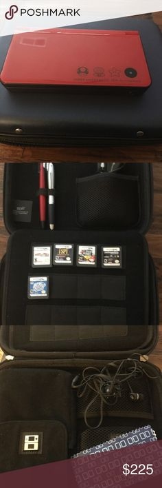 Nintendo DSi XL 25th anniversary edition Like new Nintendo DS XL 25th anniversary edition with 5 games, car charger, ear phones, original pen (plus bonus pen), original screen clean cloth, and carrying case, and official Nerf protective case. In excellent condition! Nintendo Other