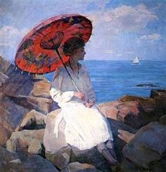 Marguerite Stuber Pearson (1898 – 1978) The Red Parasol