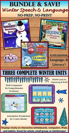 This comprehensive BUNDLE includes three complete Winter themed lessons that address language, literacy, and articulation! This unit will allow for instruction and practice with vocabulary, predicting, using context clues, sequencing, story elements, and story retell PLUS articulation of /s/ and /s/ blends. All three units are full-color NO PREP, NO PRINT and are intended for use on digital platforms.