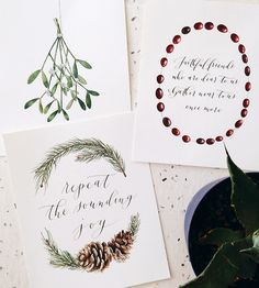 Holiday Watercolor & Calligraphy Art Print Set by Anna Tovar on Scoutmob