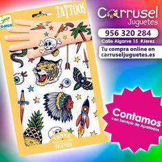 Ya tienes en #CarruselJuguetes tus #Tattoos de Djeco más divertidos !!!  DJECO tatuajes temporales para los niños y sus padres. Es fácil de aplicar. Tatuajes con efectos de papel de aluminio para que sean realmente impresionantes.!!!! ................... TE ESPERAMOS EN CALLE ALGARVE 15 #Jerez